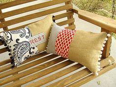 Pamela Joyce: Pillows. Burlap, ticking, pom-poms