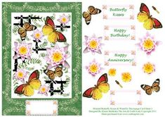 Oriental Butterfly Dreams Waterlily Decoupage Card Sheet 3 on Craftsuprint - Add To Basket!