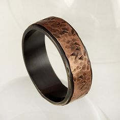 Hammered Copper Ring, Mens Wedding Band, Oxidized Silver 6 mm Man ring, Mens unique Engagement Ring, Sterling Silver & Copper Ring, RS-1079
