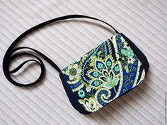 Купить Маленькая джинсовая сумочка для прогулок - тёмно-синий, орнамент, маленькая сумочка