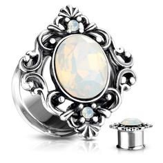 Sold as a Pair Inspiration Dezigns CZ Paved Rim with Rose Center Top Screw Fit Flesh Tunnels