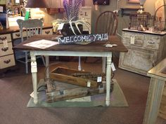 Vintage farm table. Available at the Queen of Hearts in Marietta ga. Visit our booth on south battery for this table! By the redneck designers. $179