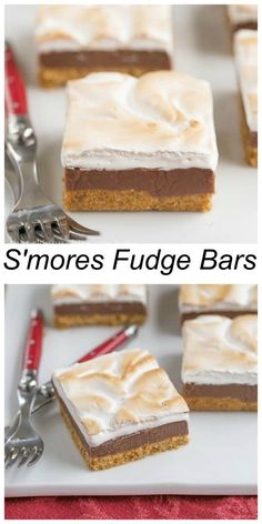 S'mores Fudge Bars - Graham cracker crust, fudgy center, and marshmallow topping! Rich, gooey and absolutely irresistible! Smores Dessert, Dessert Bars, Dessert Simple, Baking Recipes, Cookie Recipes, Dessert Recipes, Fudge Recipes, Yummy Treats, Sweet Treats