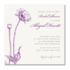 Poppy Bridal Shower Square Personalized Invitations