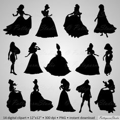 Digital Clipart Princess Silhouettes Party Clip art