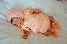 Hand knitted angel top/dress, frilly knickers/pants, bootees and bonnet in peach DK to fit small newborn or reborn by KosyKnits on Etsy Frilly Knickers, Knickers Pants, Cute Little Baby, Small Baby, Reborn Dolls, Reborn Babies, Peach Shoes, Knitted Baby Outfits, Baptism Outfit