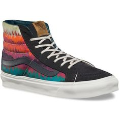 Vans Mountain Ombre SK8-Hi Slim ($70) ❤ liked on Polyvore featuring shoes, sneakers, vans shoes, laced shoes, vans footwear, high top sneakers and lace up high top sneakers
