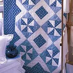 Blue Breeze: FREE Classic Blue and White Quilt Lap Quilt Pattern.  I'll add more blocks and make it larger.  Love a blue/white quilt.