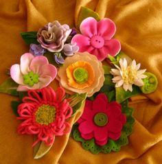 fancy wool flowers