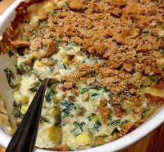 Green Chile Hominy Spinach Casserole is kicked up comfort food.
