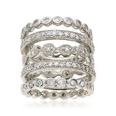 Set of Five 2.80 ct. t.w. CZ Eternity Bands In Sterling Silver Sale: $131.25 (I might be repinning rings --- too many stacking rings, so little time) ;)