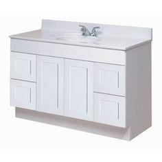 Home hardware 48 x 21 2 door 4 drawer raised panel white vanity for the house pinterest for Home hardware bathroom vanities