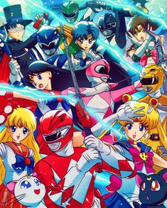 Sailor Moon Fan Art, Sailor Moon Crystal, Sailor Mars, Saban's Power Rangers, Mighty Morphin Power Rangers, Best Theme Songs, Fandom Crossover, Sailor Scouts, Cultura Pop