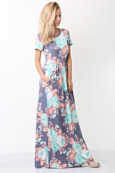 Short Sleeve Floral Print Maxi Dress w/Side Pocket Summer Outfits, Casual Outfits, Summer Clothes, Floral Print Maxi Dress, Everyday Dresses, Dress Up, Floral Prints, Short Sleeve Dresses, My Style