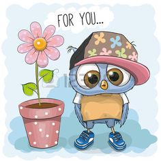 Illustration about Greeting card Cute Cartoon Owl with flower. Illustration of greeting, card, girl - 69473717 Owl Cartoon, Cute Cartoon Animals, Cute Animals, Cute Images, Cute Pictures, Paper Owls, Dibujos Cute, Pintura Country, Owl Art