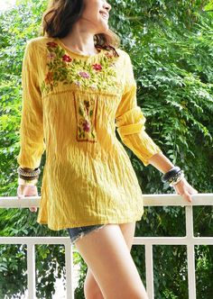 so pretty!  mustard yellow boho top tunic