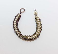 REVERSIBLE Flat Spiral Bracelet in Pearl and Cabernet with Purple Iris Bicones