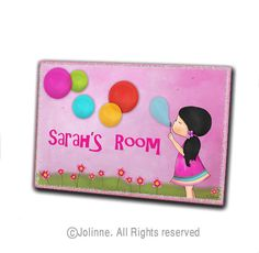 Girl blowing bubbles personalized door sign by jolinne on Etsy, $22.00