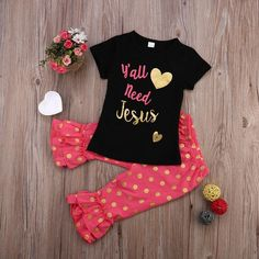 Baby Girl Summer Yall Need Jesus T-shirt + Pants Polka Dot Outfit #toddlers #babies #mommmyblogger #moms #webuyblack #baby #babyswag #shoes #trendyfashion #disney