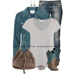 """""""Embroidered Cowboy Boots"""" by stay-at-home-mom on Polyvore Country Girl Style, Country Girls, My Style, Country Outfits, Casual Outfits, Denim And Lace, Suede Jacket, Dress To Impress, Cowboy Boots"""