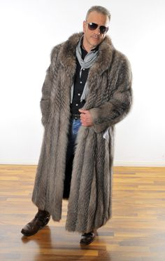 7dbf326b643c Mens fur coat Herren PELZ Silberfuchs MANTEL SilverFox PELLICCIA FOURURRE  Renard   eBay