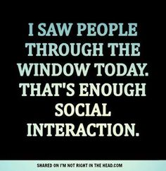 I saw people through the window today. That's enough social interaction.