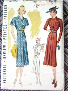 Uncut Late 1930s vintage sewing dress pattern by by Fancywork