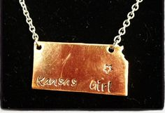 State Necklace Kansas Pictured in Brass Copper or by myheartsaKEs, $14.00