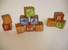 Vintage Antique Wood Children's / Nursery Toy Blocks - Set of 11