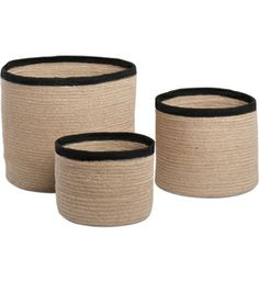 Keep supplies stored and organized in any room of the home or office with the Natural Round Storage Baskets.