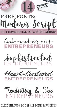 Free commercial use script fonts and pairings keep bloggers and entrepreneurs OUT of hot water. Get these script, brush, calligraphy, and handwritten fonts and pairings. via @ndcfullcircle