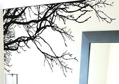 """TREE TOP BRANCHES WALL DECAL (BLACK /Left to Right) 100"""" W X 44"""" H #444m by Stickerbrand. Easy to Apply and Removable. Made in the USA. No Glue Needed. Safer than wallpaper. Black color Stickerbrand http://www.amazon.com/dp/B0048F7YX4/ref=cm_sw_r_pi_dp_r3J0vb1MTNPD0"""