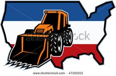 vector illustration of a mechanical digger with map of united states of america in background #mechanicaldigger #retro #illustration