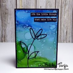 Little Art Cottage: 1 Die 8 Looks: Part 1 - Black Silhouette against Alcohol Ink Background - #kartenkunst #memorybox #alcoholinks #alcoholink #ideaology #sticker