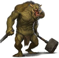 A thick muscled troll approaches his enemies with murderous intent and a hungry belly.  The promise of eating driving him to greater acts of savagery.
