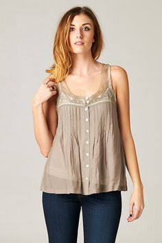 A-Line Cut softly Pleated Top with Embroidered Lace and Mother of Pearl Buttons.