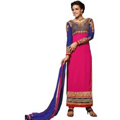 Attractive Pink & Blue Coloured Embroidered Salwar Suit Comes With Blue color Pure Velvet Bottom,Blue Color Heavy Naznin Dupatta.This suit which can be customzied up to bust size ,Top length Approx.Upto 55