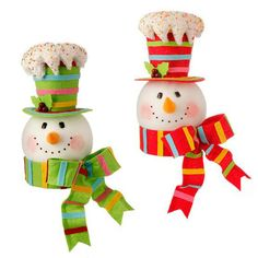 "raz christmas 2014   RAZ 15"" Snowman Head Tree Topper Multicolored"