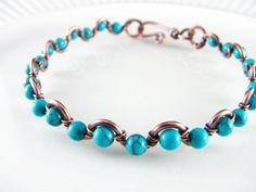 Wire Wrapped Bracelet Turquoise and Copper by PolymerPlayin