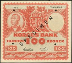 (†) Norges Bank, Norway, specimen 100 Kroner, 1950, serial number X.0000000, signatures Jahn and Thorp, vermillion on grey underprint, portrait of Henrik Wergeland at upper left, coat of arms at upper centre, value at lower left and right, reverse logging, overprinted SPECIMEN diagonally in black on obverse and reverse, four punch hole Hole Punch, Coat Of Arms, Norway, Vikings, Centre, Number, Portrait, Grey, Black