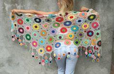 Mujeres accesorios coloridos Crochet chal de flores multicolor
