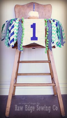 BLUE AND GREEN Birthday Age High Chair by RawEdgeSewingCo on Etsy