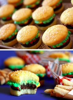 Cupcake burgers - look like a cupcake cut in half with green, yellow, & red frosting in between, and a brownie for the burger. Labor intensive but fun for a special occasion!