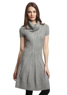 JESSICA HOWARD Short Sleeve Turtleneck with Front Detail Dress