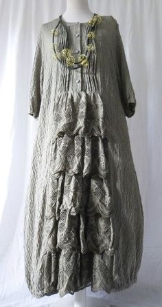 FAB GERMAN ZEDD.PLUS quirky/lagenlook TAUPE RUFFLE  parachute dress XXL/XXXL #ZEDDPLUS #dress