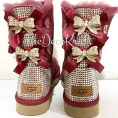 Items similar to Bling Ugg Bailey Bow, Women's Custom Garnet Ugg Boots Swarovski Crystal Bling Australian Fur Boots, Snow Boots, Bling Boots on Etsy Ugg Bailey, Bailey Bow, Ugg Style Boots, Bow Boots, Ugg Boots With Bows, Cowboy Boots, Sheepskin Boots, Converse All Star, Shoes