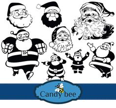 Santa Claus vector clip arts included with Santa's face, Santa with gift packets here comes yet another Santa Claus Silhouette Digital Clipart. Silhouette Clip Art, Silhouette Images, Christmas Graphics, Christmas Silhouettes, Clipart, Santa Claus Vector, Christmas 24, Christmas Printables, Vector Design