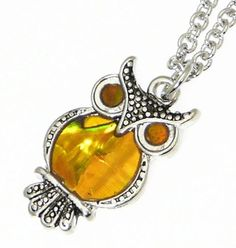 Amazon.com: Neptune Giftware Inlaid Natural Abalone Shell Silver Color Owl Pendant On Adjustable Silver Color Necklace - Gift Boxed - 2 Colors Available - YOU CHOOSE - AMBER Color: Jewelry