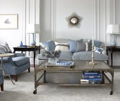 Blue New-Trad Living Room | House & Home