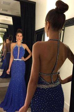 Halter Backless Sequins Long Satin Prom Dresses Evening Dresses PM505